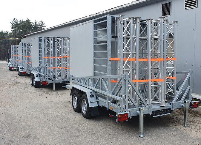 Fast network deployment: COWs with prefabricated mast 12 and 20 m